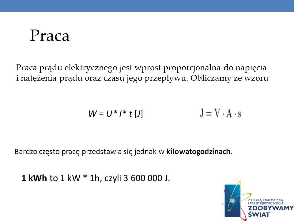 Praca W = U* I* t [J] 1 kWh to 1 kW * 1h, czyli 3 600 000 J.